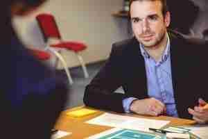 a man conducting a job interview
