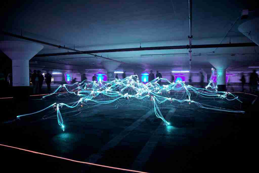 network of lights on a dark background